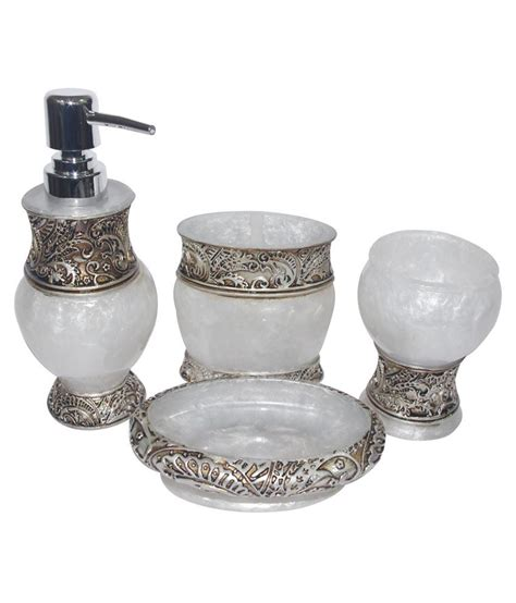 virat furniture white acrylic bath accessories set of 4