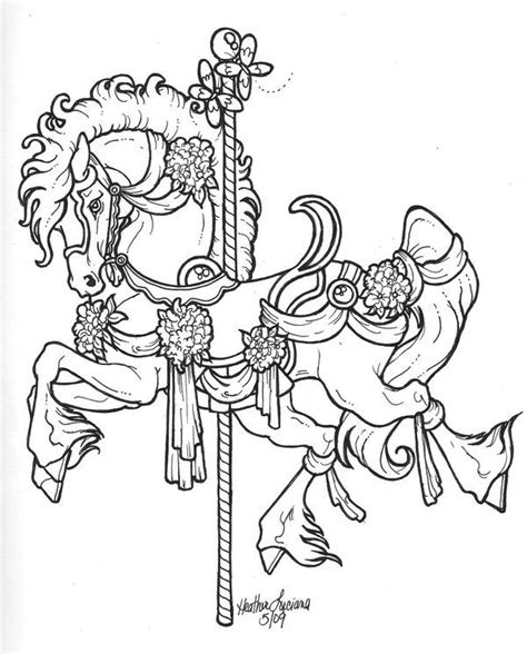 coloring pages of carousel horses carousel lineart by crimsoncavedragon leather