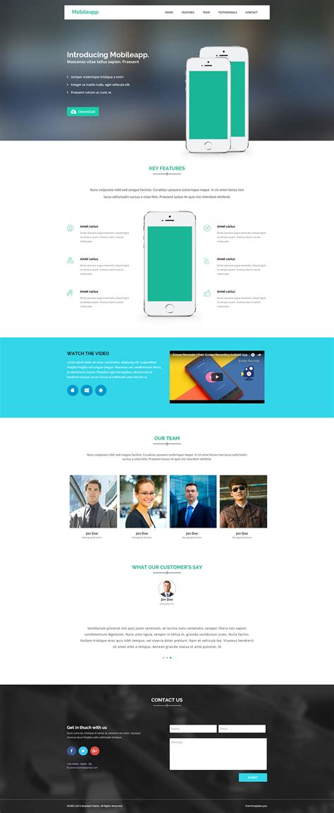 free app website bootstrap html5 template free templates