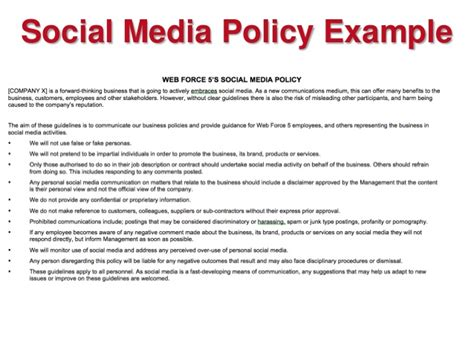 employee social media policy template it houston social media policy exles