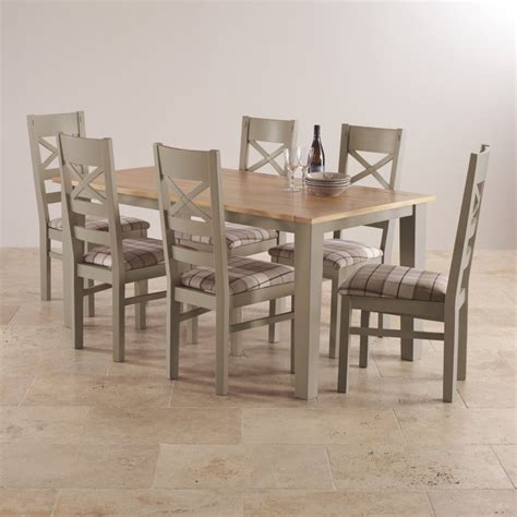 St Ives Dining Set In Grey Painted Acacia Table 6 Chairs Dining Table With Fabric Chairs