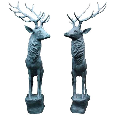 magnificent pair of lifesize bronze reindeer statues at