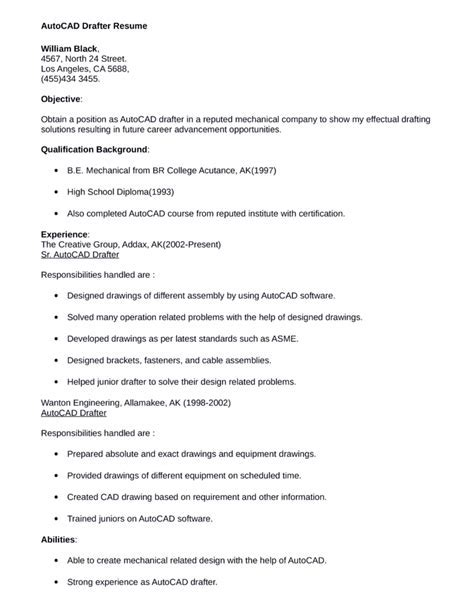 architectural drafter resume sample resume templates - Drafter Sample Resumes