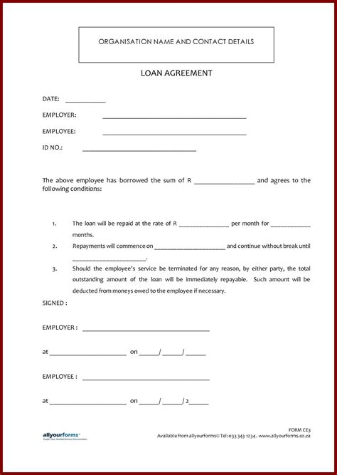 simple loan document template printable sle loan contract template form auto loan