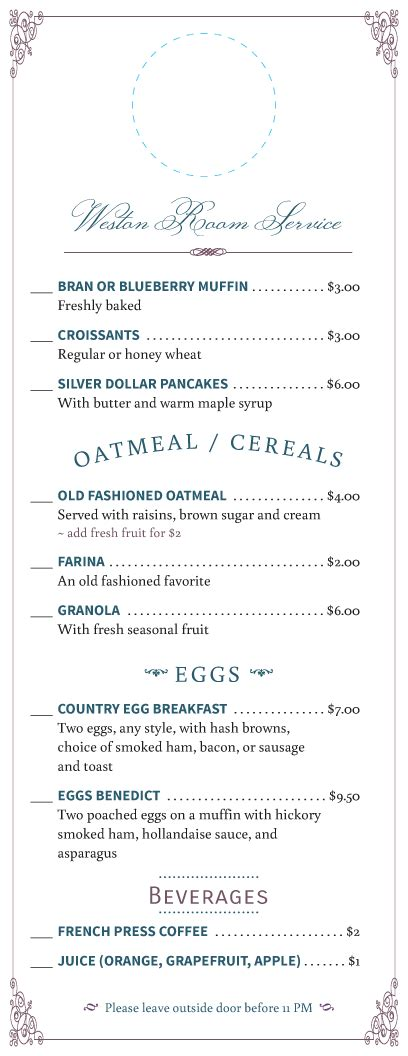 Hotel Menu Designs From Imenupro More Than Just Templates Room Service Breakfast Menu Template