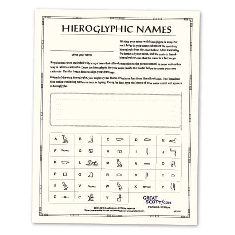 Hieroglyphics Worksheet by Great S Ancient Hieroglyphic Names Sheet