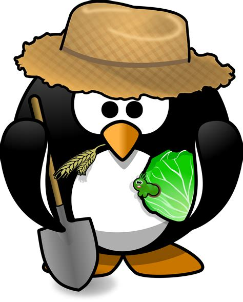 Clipart - Farmer penguin Microsoft Garden Clipart