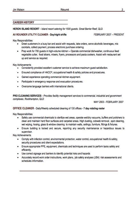 office cleaner resume exle resumes design