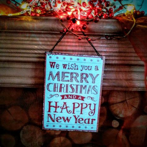 merry christmas   happy  year hanging metal sign