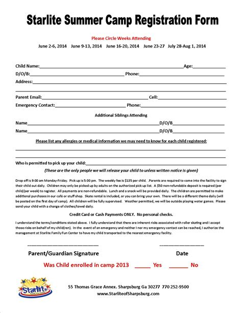 summer c registration form template pin c forms registration form general release