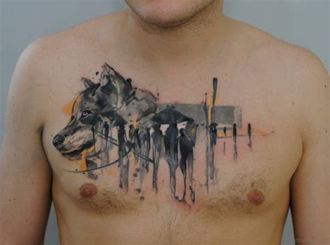 watercolor wolf tattoo 50 magnificent wolf tattoos for chest