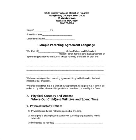 template of custody agreement custody agreement template 10 free word pdf document