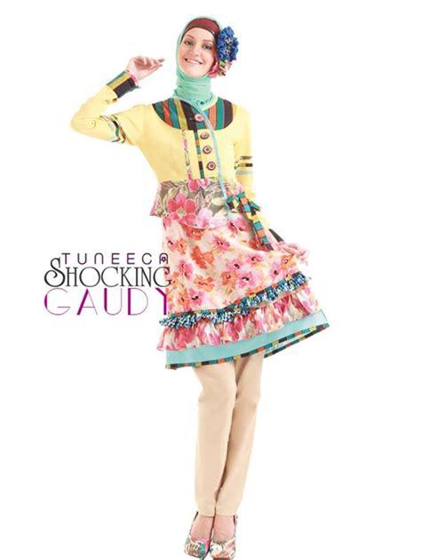 Busana Wanita Orange Floral busana muslim koleksi terbaru