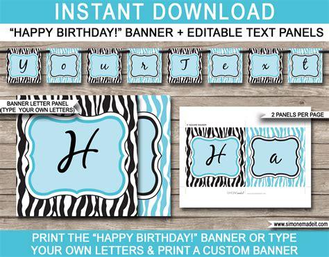 printable text banner zebra birthday bunting template happy birthday banner