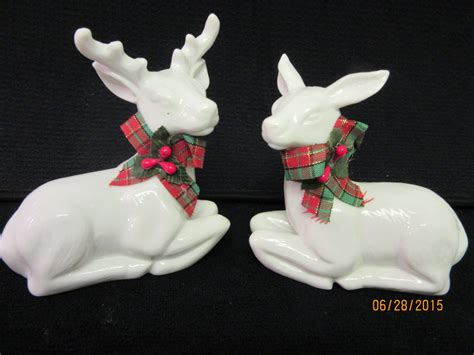 reindeer set of two porcelain white glazed embellished with