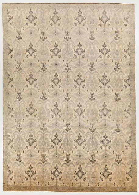 Modern Multi Colored Oriental Ikat Rug With Border 10x14 Modern Area Rugs 10x14