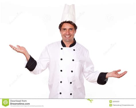 professional chef standing with palms out stock photos image 32203223
