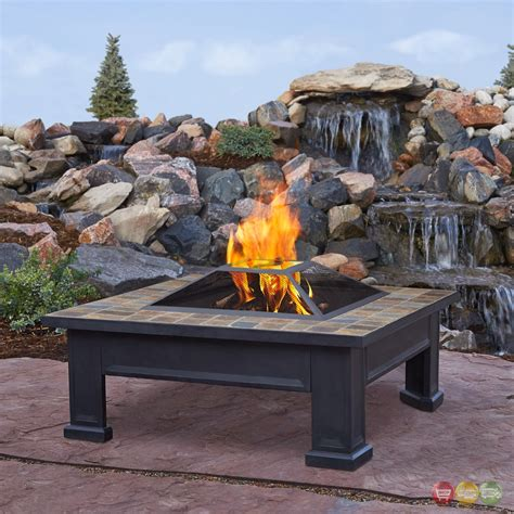 Patio Wood Burning Pit breckenridge outdoor wood burning 34 quot square pit with slate tile top