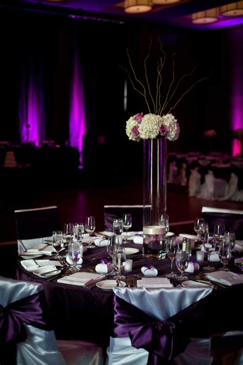 purple silver and white wedding table decorations