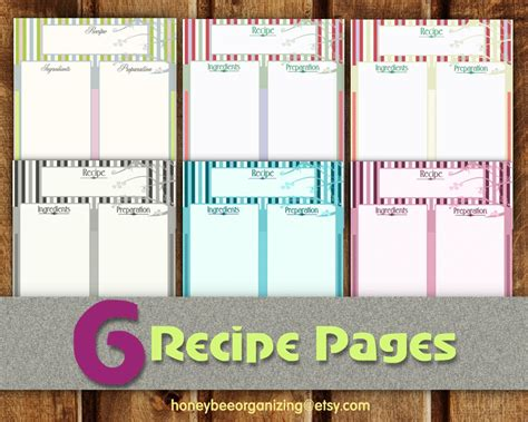 Recipe Pages Instant Download Blank Cooking Book Cookbook Page Template Free