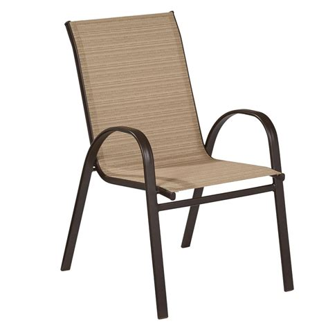 Sling Stackable Patio Chairs Sling Patio Chairs Stackable Shop Garden Treasures Driscol Taupe Steel Stackable Patio Set Of