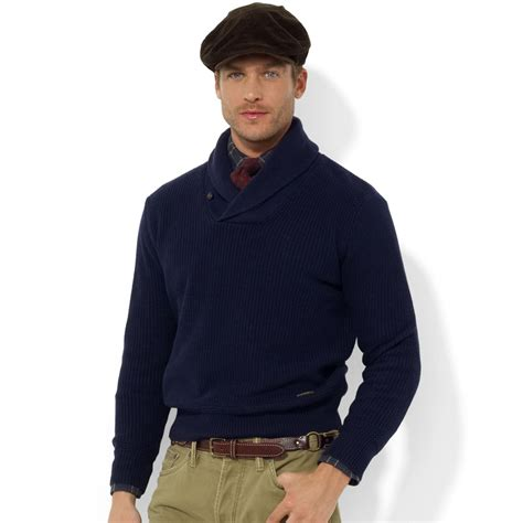 Sweater Polos polo ralph shawl collar cotton sweater in blue for lyst