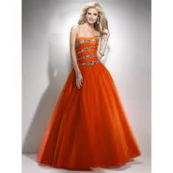 ball gown strapless beading tulle long orange prom dress