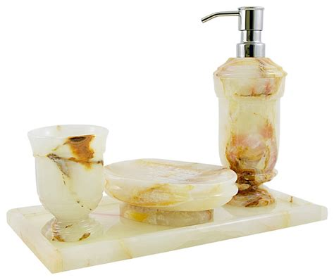 Onyx Bathroom Accessories Nature Home Decor White Onyx Set With Vanity Tray Traditional Bathroom Accessory Sets By
