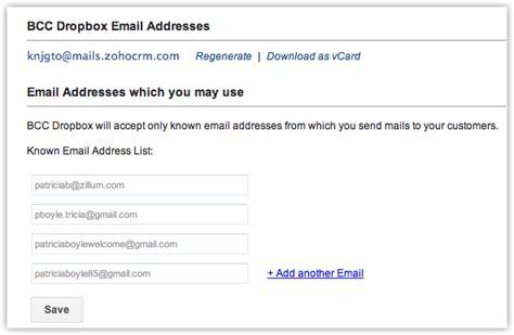 Company Email Address Lookup Bcc Dropbox Help Zoho Crm