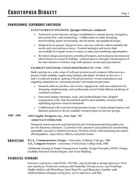 exle software engineer resume sle resume format for experienced software engineer