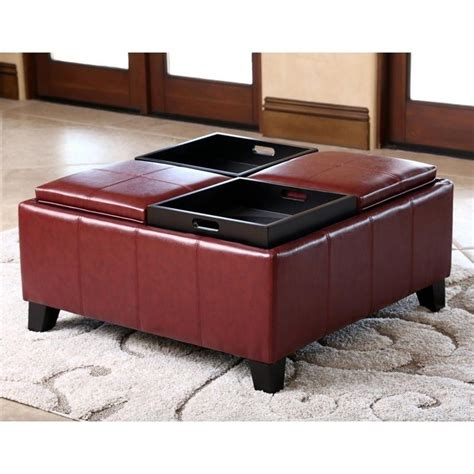 red ottoman coffee table abbyson living trapani square faux leather ottoman coffee
