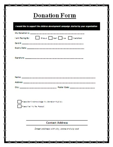 donation card template sle free donation form printable forms