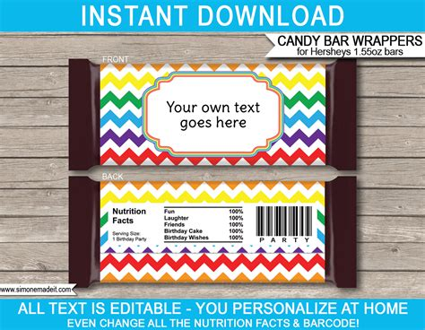 Rainbow Hershey Candy Bar Wrappers Personalized Candy Bars Personalized Wrapper Template Free