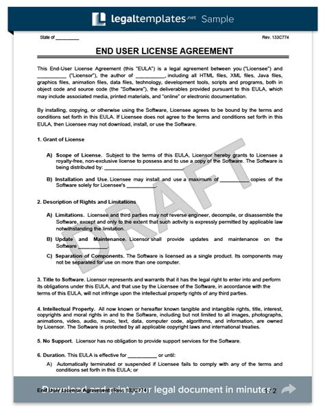 Create An End User License Agreement Eula Legal Templates End User License Agreement Template