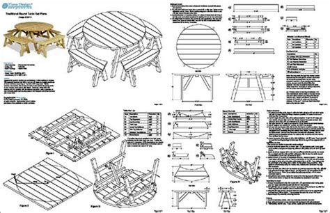 classic  picnic table set woodworking plans pattern