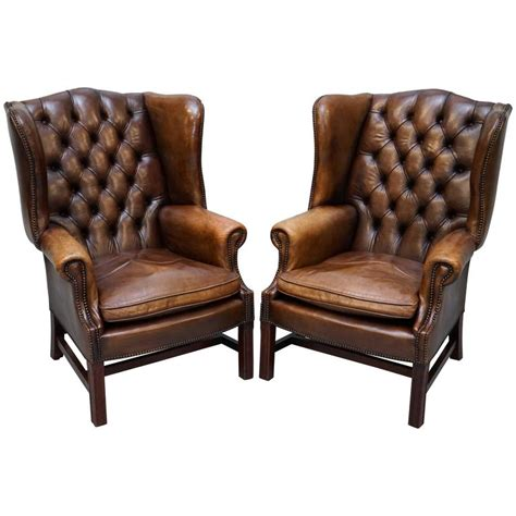 wingback armchairs for sale pair of hand dyed vintage brown leather chesterfield