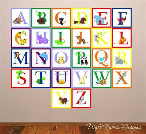 large alphabet wall stickers animal alphabet wall decal childrens reusable wall decal