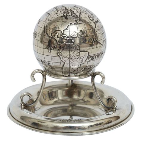 Rare Sterling Silver Desk Globe Compass At 1stdibs Small Desk Globe
