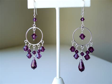 Purple Chandelier Earrings Purple Chandelier Earrings In Sterling Silver