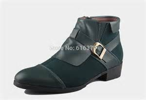 Fashion men s ankle boots patchwork leather side zipper buckle high