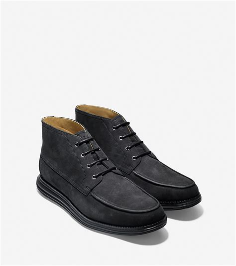 cole haan lunargrand moc suede chukka boots in black for