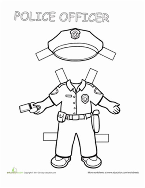 Police Paper Doll   Worksheet   Education.com