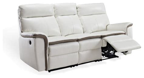 reclining sofa in white top grain leather