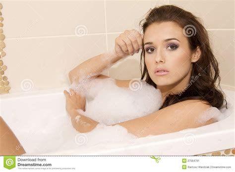 women in bathtub closeup of young woman in bathtub bathin stock image