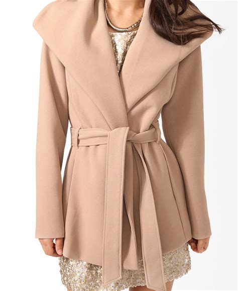 Sleeve Broad Brown lyst forever 21 contemporary belted broad collar coat in