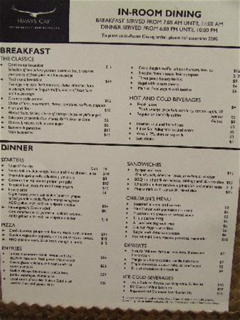 in room dining menu in room dining menu picture of hawks cay resort duck