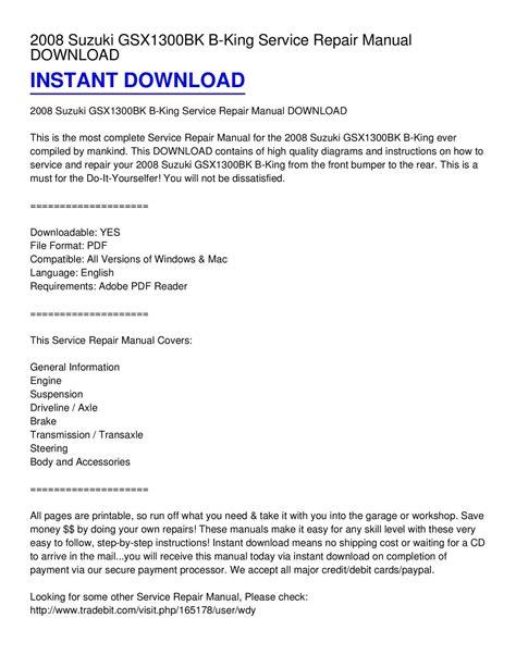 2008 suzuki xl7 service repair manuals pdf download autos post calam 233 o 2008 suzuki gsx1300bk b king service repair manual download
