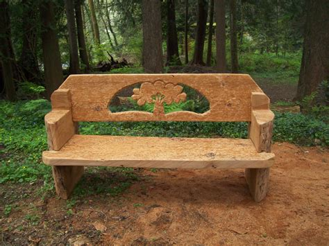 wood tree bench tree bench chainsaw carved from one western red cedar log