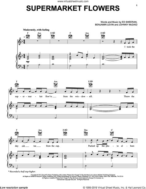 ed sheeran supermarket flowers chords sheeran supermarket flowers sheet music for voice piano