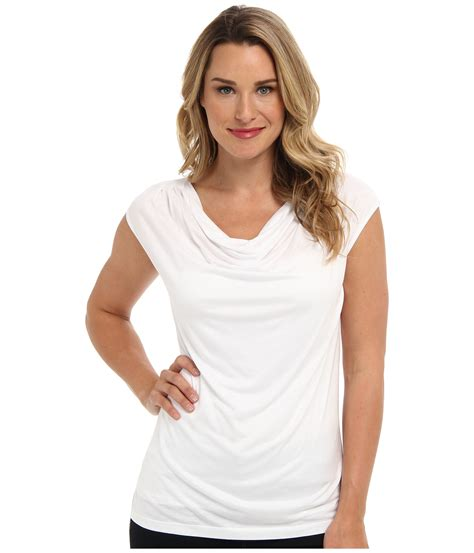 draped white top nic zoe draped neck top in white lyst